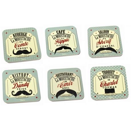"""Drikkebrikker - """"Moustache"""" - 6 stk."""