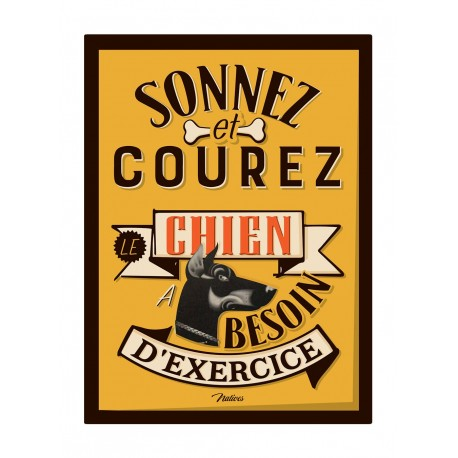 """Metalskilt - """"Sonnez et coures"""" - A5"""