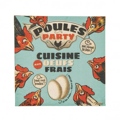 "Servietter - ""Poules party"" - 20 stk."