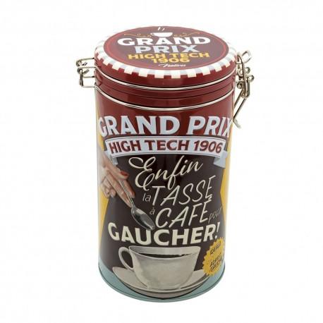 """Rund kaffedåse med patentlåg - """"Tasse pour gaucher"""""""