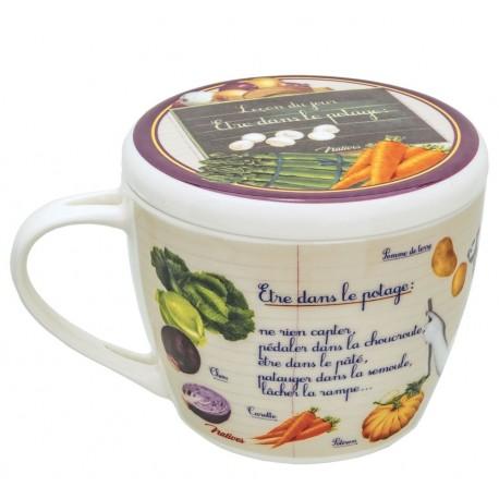 """Suppeskål med låg - """"Dans le potage"""""""