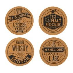 """Drikkebrikker i kork - """"Whisky"""" - 4 stk."""