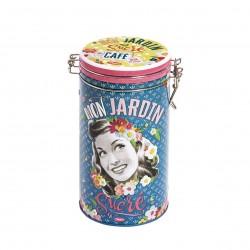 "Rund kaffedåse med patentlåg - ""Mon Jardin sucré"""