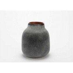 Glasvase - 22 cm - Sort/kobber