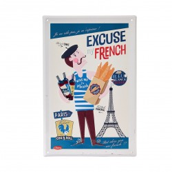 """Metalskilt - """"Excuse my French"""" - A4"""
