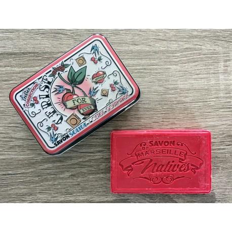 Savon de Marseille - kirsebær - 100 g fast håndsæbe