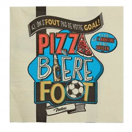 """Servietter - """"Pizza bière foot"""" - 20 stk."""
