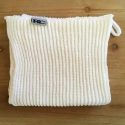 Strikket håndklæde - hvid