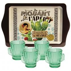 Metalbakke med 4 shotglas tequila