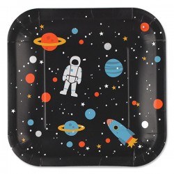Paptallerkner - Astronaut - 8 stk.