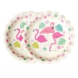 Paptallerkner - Flamingo - 8 stk.