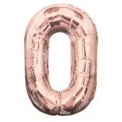 Folieballon 0-tal - 102 cm - rose gold