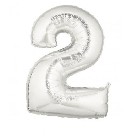 Folieballon 2-tal - 102 cm - sølv