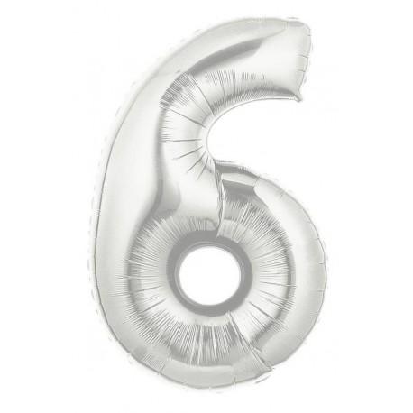 Folieballon 6-tal - 102 cm - sølv