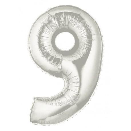 Folieballon 9-tal - 102 cm - sølv