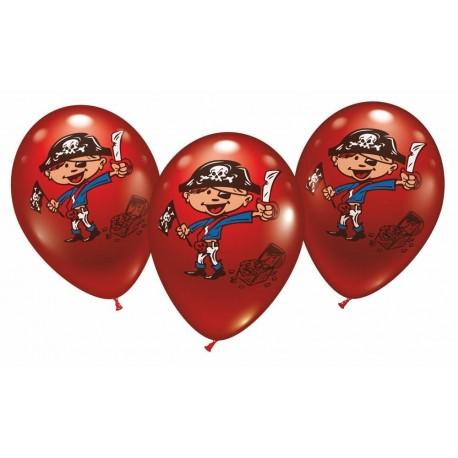 Balloner m. piratmotiv - Ø 28-30 cm - 6 stk.