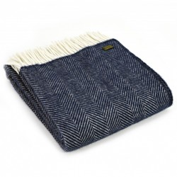 Tweedmill uldplaid - Fishbone Navy - 150x183 cm