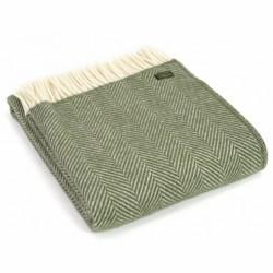 Tweedmill uldplaid - Fishbone Olive - 150x183 cm