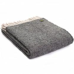 Tweedmill uldplaid - Herringbone Charcoal & Silver - 150x183 cm