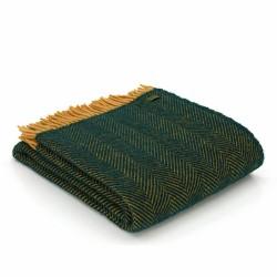 Tweedmill uldplaid - Herringbone Emerald Green & Mustard - 150x183 cm