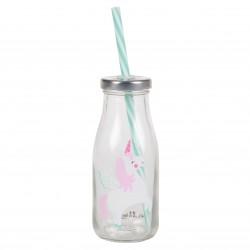 Flaske med sugerør - Rainbow Unicorn