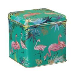 Kvadratisk metaldåse - Flamingo