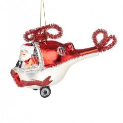 Julekugle - Julemanden i helikopter