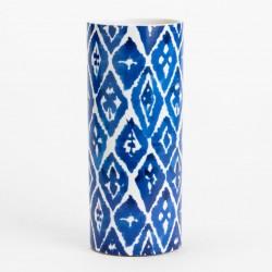 Vase - 31 cm - Blå/hvid