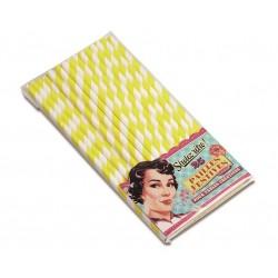 Papirsugerør gul, 25 stk.