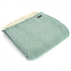 Tweedmill uldplaid - Fishbone Sea Green - 150x183 cm
