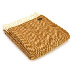 Tweedmill uldplaid - Fishbone Mustard - 150x183 cm